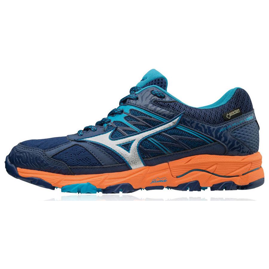4aeb1d587ad Mizuno Wave Mujin 5 GTX Dames Hardloopschoenen Blauw Oranje Zilver